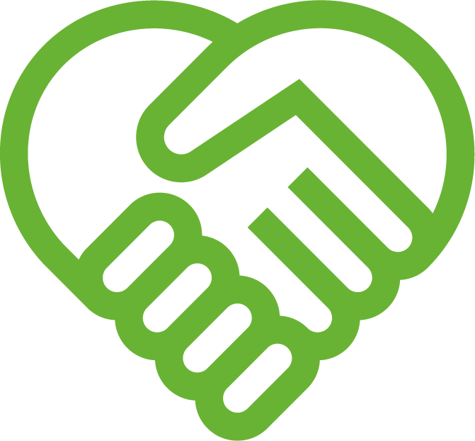 physicians planning service (ppsc) outline of a lime green heart made from two hands icon