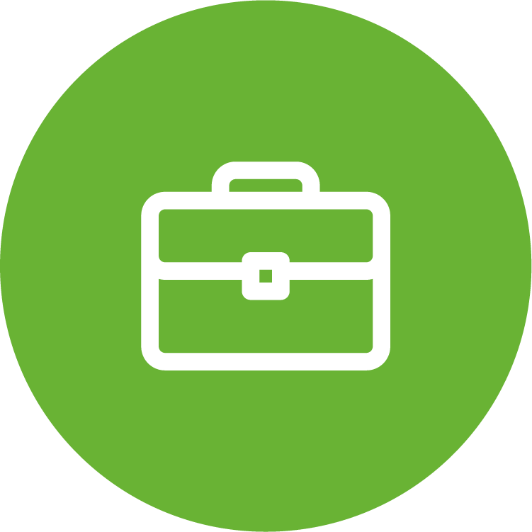 physicians planning service (ppsc) green circle icon with white briefcase