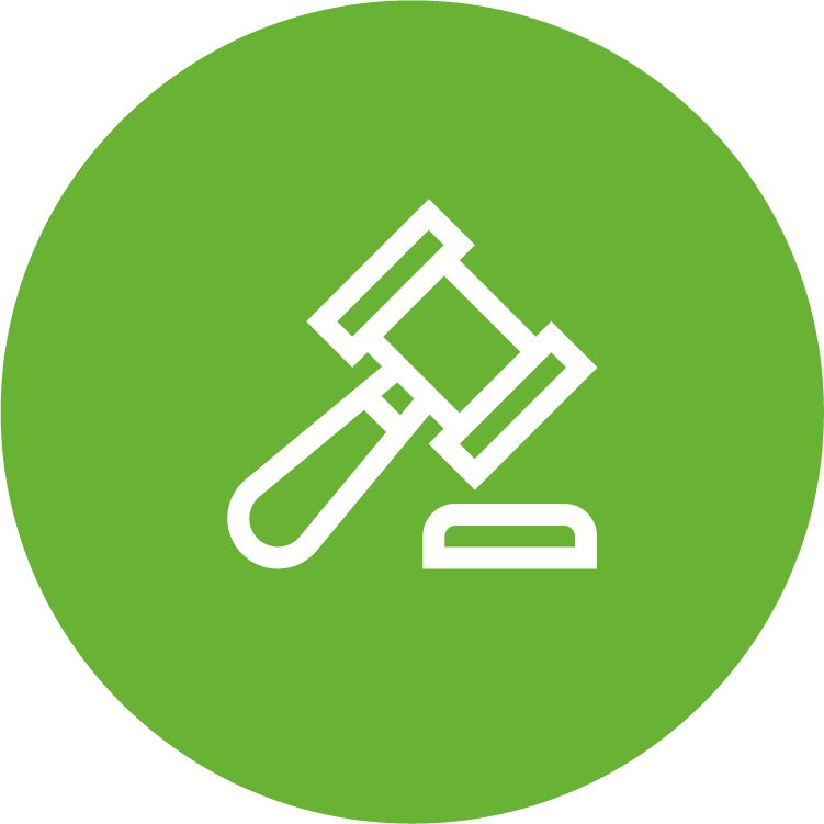 physicians planning service (ppsc) green circle icon with white gavel-ceremonial mallet