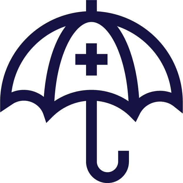 physicians planning service (ppsc) outline of a navy blue umbrella with medical cross icon