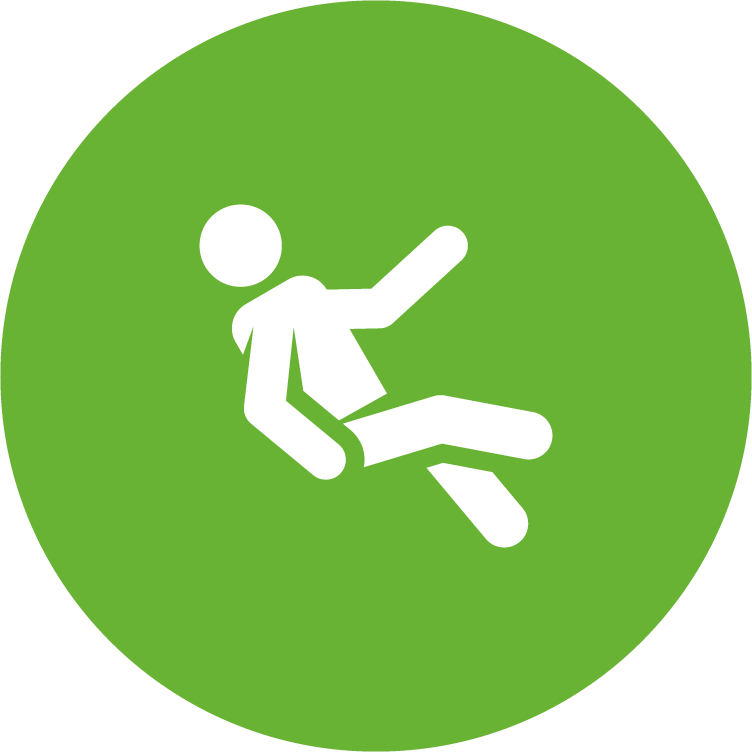 physicians planning service (ppsc) green circle icon with person slipping and falling