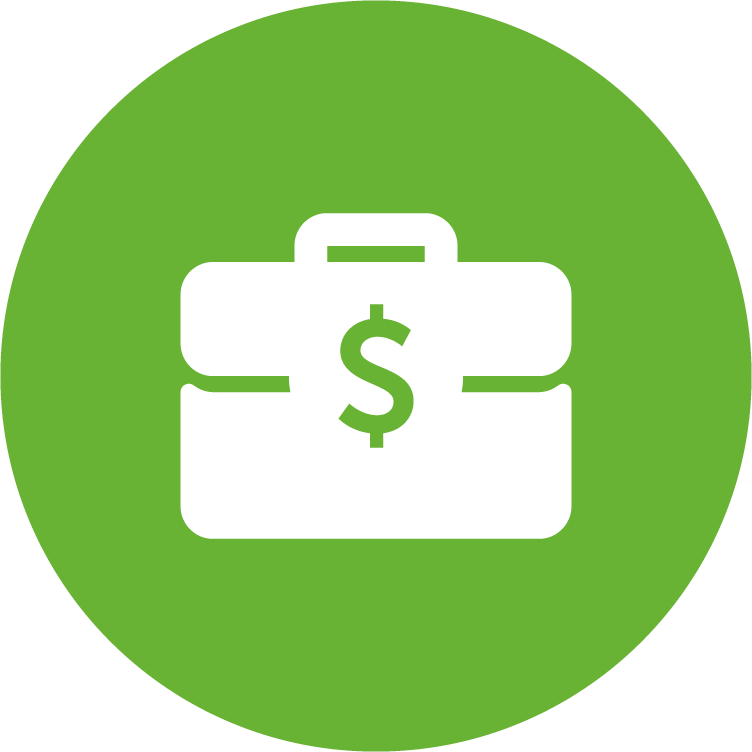 physicians planning service (ppsc) green circle icon with white briefcase displaying a dollar sign