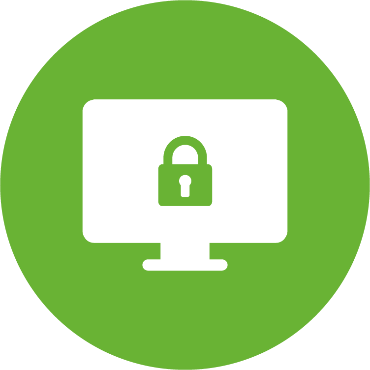 physicians planning service (ppsc) green circle icon with a lock inside of a white computer monitor