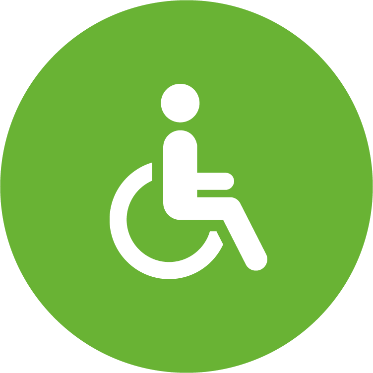 green circle icon with white medical staff